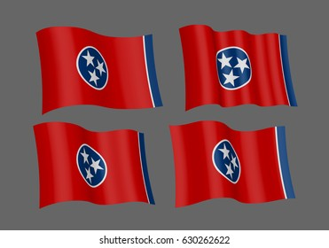 USA Tennessee vector flags. A set of 4 wavy 3D flags. Design Element. Isolated on gray background.