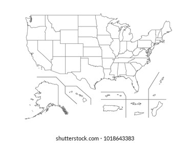 USA Territories map with country borders, thin black outline on white background. High detailed vector map with counties/regions/states - USA Territories. contour, shape, outline, on white.