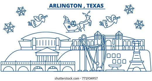USA, Texas, Arlington winter city skyline. Merry Christmas and Happy New Year decorated banner. Winter greeting card with snow and Santa Claus. Flat, line vector. Linear christmas illustration