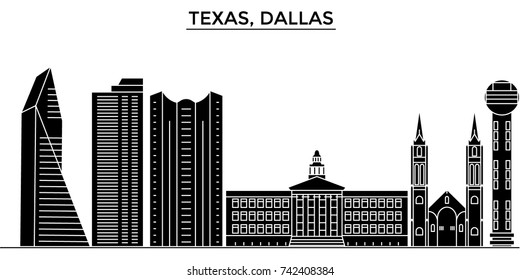 Usa, Texas Dallas architecture vector city skyline, travel cityscape with landmarks, buildings, isolated sights on background