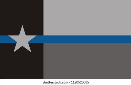 USA Texas Police Flag. Vector EPS 10
