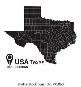 USA Texas regions map