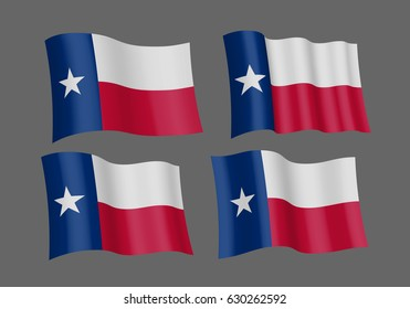 USA Texas vector flags. A set of 4 wavy 3D flags. Design Element. Isolated on gray background.