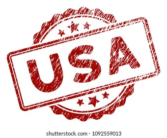 USA text rubber stamp seal. Vector element with distress style and scratched texture in red color. Designed for overlay watermarks and distressed seal imitations.