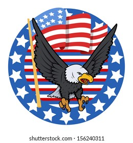 USA Theme Bald Eagle - Constitution Day Vector Illustration