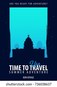 USA Time to Travel. Journey, trip and vacation. Vector travel illustration