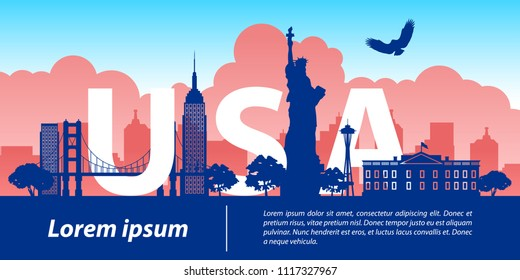 usa  top famous landmark silhouette style,USA text within,travel and tourism,vector illustration