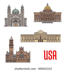 USA tourist attraction and architecture landmarks. St. James Cathedral, Massachusetts State House, National Gallery of Art, Old South Church. Vector icons of american famous buildings facades