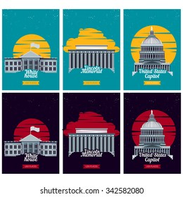 USA tourist destination posters. Vector illustration with American famous buildings in Washington. Banner with Capitol, White House, Lincoln Memorial monument. US traditional symbols and architecture