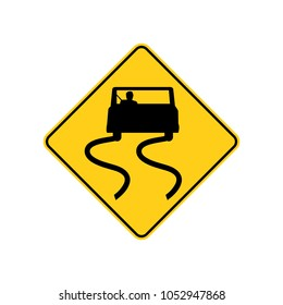 USA traffic road sign. slippery when wet, use caution. vector illustration