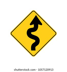 USA traffic road sign. winding road ahead,begins with a curve to the right. vector illustration