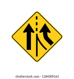USA traffic road signs. added lane ahead. vector illustration