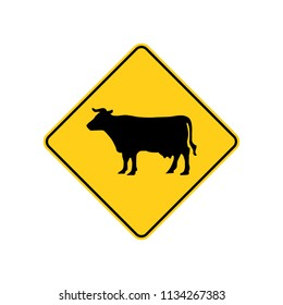 USA traffic road signs. cattle ahead or crossing. vector illustration