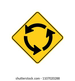 USA traffic road signs. circular intersection ahead. vector illustration