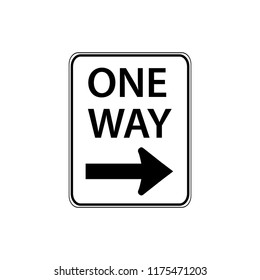 USA traffic road signs. traffic flow in the direction of the arrow only. vector illustration
