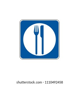 USA traffic road signs. General service sign for food. vector illustration