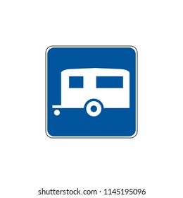 USA traffic road signs. general service sign for trailer camping. vector illustration