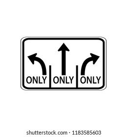 USA traffic road signs. left lane must turn left,center lane must turn straight,right lane must turn right. vector illustration