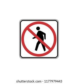 USA traffic road signs. no pedestrian crossing. vector illustration