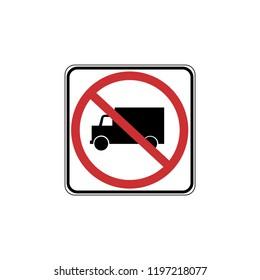 USA traffic road signs. no truck allowed. vector illustration