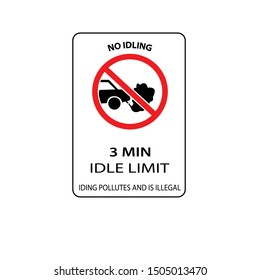 USA traffic road signs. no idling for more than 3 min.vector illustration
