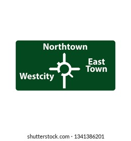 USA traffic road signs upcoming roundabout exits and where they will take you .show. vector illustration