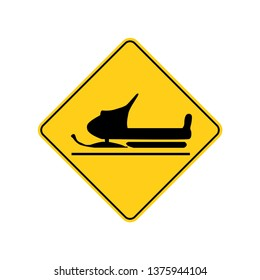 USA traffic road signs.snowmobiles cross this road. vector illustration