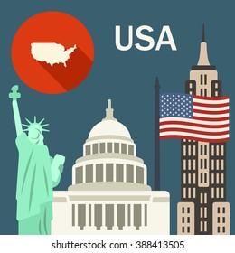 USA travel illustration