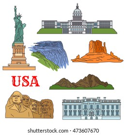 USA travel landmarks of culture, history and nature thin line icon with the statue of Liberty, Grand Canyon, United States Capitol, Niagara falls, Rushmore National Memorial and Rocky Mountains