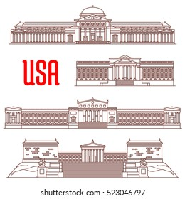 USA travel landmarks icon with linear architectural sights. Field Museum of Natural History, Philadelphia Museum of Art, The Franklin Institute, Museum of Science and Industry