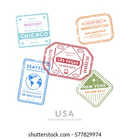 Usa travel visa stamps vector isolated on white background. Arrivals sign rubber stamps. Chicago, San Francisco, Las Vegas, New York, Seattle cities sign.