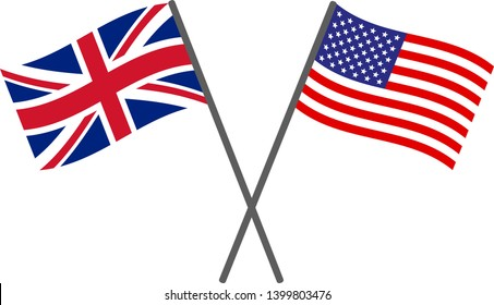 USA and UK flags vector eps10