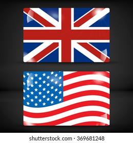 USA and United Kingdom flag