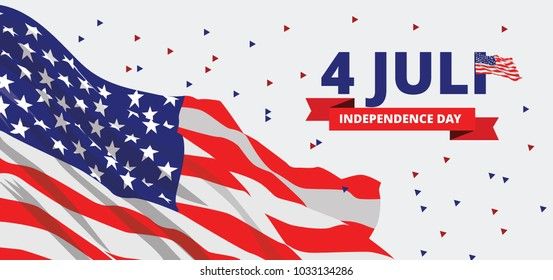 USA United State America Independence Day Flag Vector Background