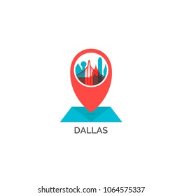 USA United States of America Dallas city skyline landscape silhouette vector logo icon. Cool urban horizon map pin point geolocation  illustration concept