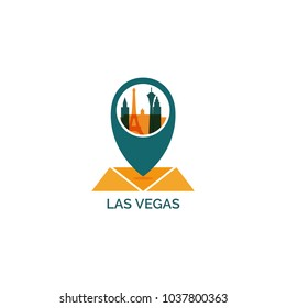 USA United States of America Las Vegas map city pin point geolocation modern skyline illustration. Pointer vector flat logo web icon