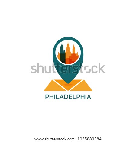 USA United States America Philadelphia Map Stock Vector ...