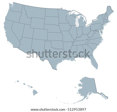 USA United States America Political Map Stock Vector (Royalty Free ...