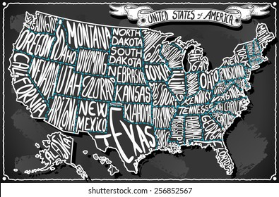 USA United States America Vintage chalk Map Old Vintage Blackboard. Retro Postcard Texas California Florida Virginia Alabama Georgia Oregon banner draw typography Vector Illustration