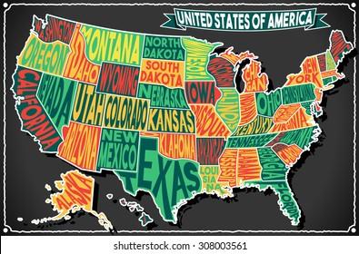 USA United States America Vintage Map Old Vintage Blackboard. Retro Postcard Georgia Texas California Vector handwritten Typography Illustration