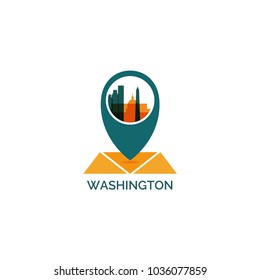 USA United States of America Washington map city pin point geolocation modern skyline shape pointer vector flat logo web icon illustration