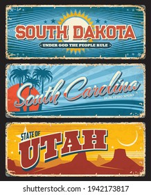 USA Utah, Carolina and South Dakota plates, America states vector rusty signs with city taglines. American states welcome motto signs and emblem flags on rusty metal grunge plates
