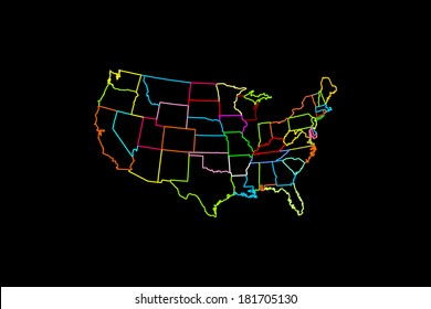 USA vector map with separated countries with different color lines isolated on black background.