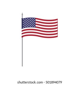 USA vector table flag template. Waving United States of America flag on a metallic pole, isolated on a white background. Flag stand, flagstaff