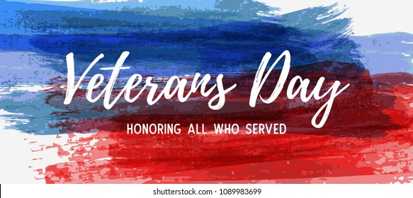 USA Veterans day background. Abstract grunge brushed lines in flag colors with text. Template for horizontal banner.