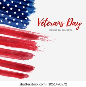 USA Veterans day background. Vector abstract grunge brushed flag with text. Template for banner, greeting card, invitation, poster, flyer, etc.