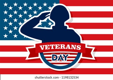 Usa veterans day concept background. Flat illustration of usa veterans day vector concept background for web design