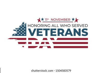 USA Veterans day greeting card template. Abstract grunge brushed United States of America flag with text. Vector horizontal banner, poster, flyer design for National american army patriot holiday