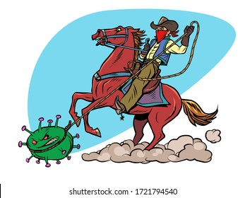 USA victory in the coronavirus epidemic covid 19. Cowboy lasso virus. Comics caricature pop art retro illustration drawing