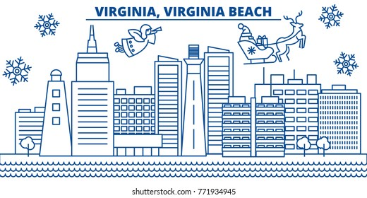 USA, Virginia , Virginia Beach winter city skyline. Merry Christmas and Happy New Year decorated banner. Winter greeting card with snow and Santa Claus.Flat, line vector. Linear christmas illustration